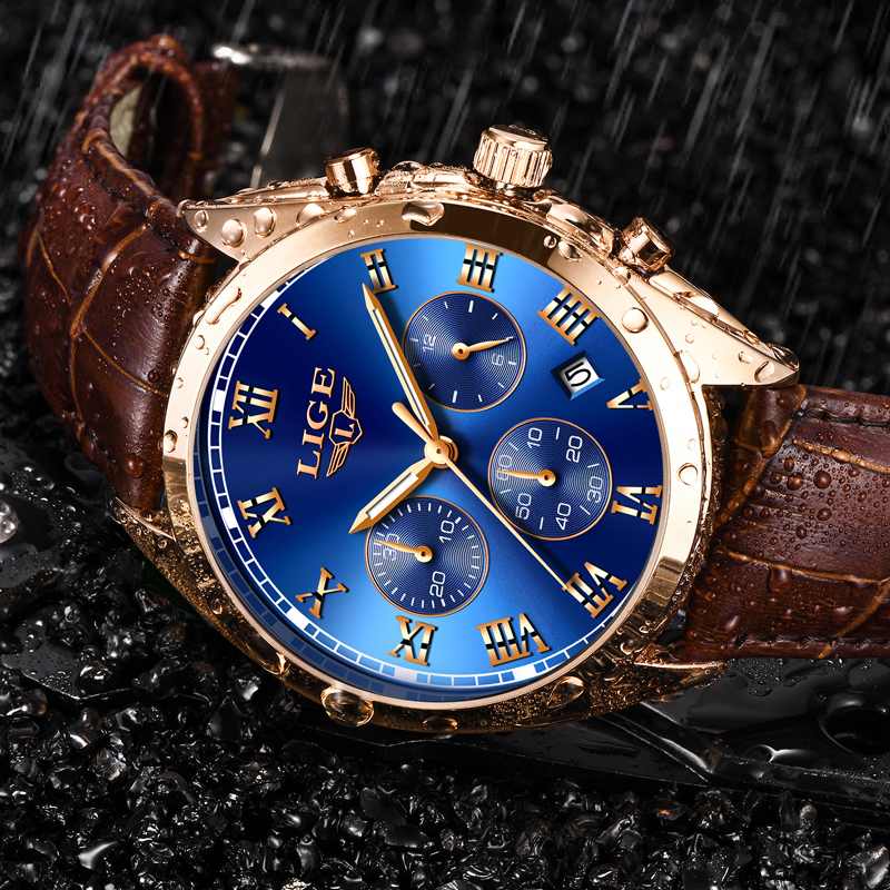 LIGE Mens Watches Top Brand Luxury Blue Watch Men Leather Waterproof Sports Watches Male Military Chronograph Clock Reloj Hombre