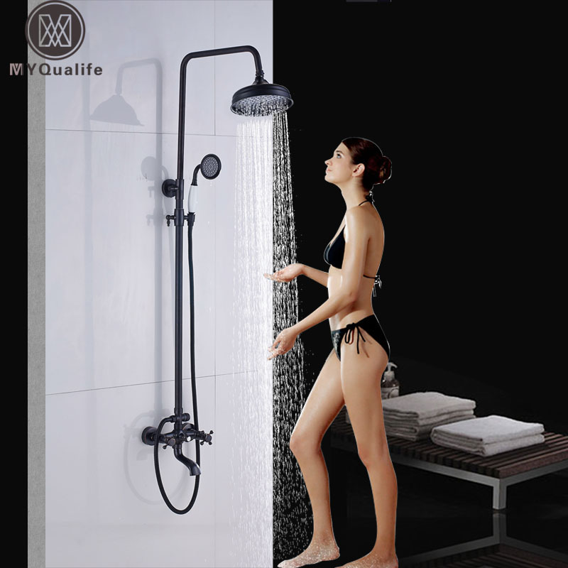 Black Bathroom Shower Faucet Set In Wall Bathtub Shower Faucet Bath Shower Tap Rainfall Shower Head Swivel Watering Can gappo classic chrome bathroom shower faucet bath faucet mixer tap with hand shower head set wall mounted g3260