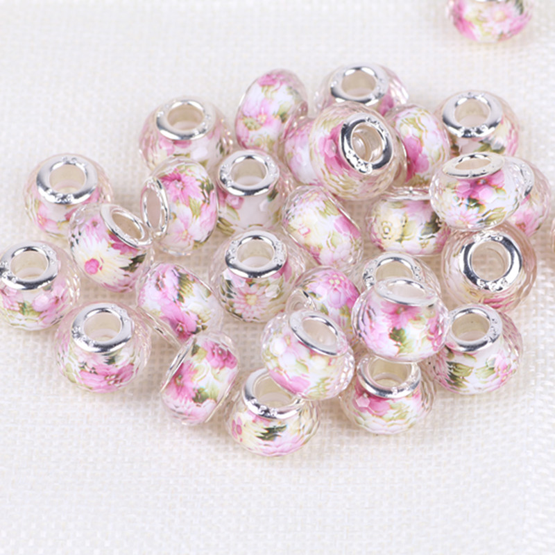 14MM Acrylic European Charms Beads Silver Color Cord Big Hole Loose Bead Fit Pandora Charms Bracelet & Bangle Jewelry Finding