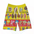 Real USA Size Ice Cream Menu 3D Sublimation Print Custom made Fifth & Seventh Shorts with String