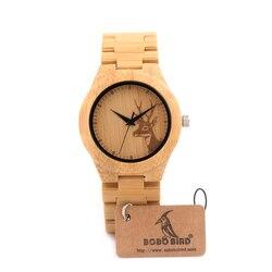 37mm BOBO BIRD Women Bamboo Watches Relogio Feminino Luxury Brand Handmade Wood Strap Wristwatches C-E04