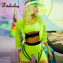 Fitshinling Fitness Buckle Neon Green Tracksuit For Women Striped Athleisure Two Pieces Set Tank Biker Shorts Suits Sexy