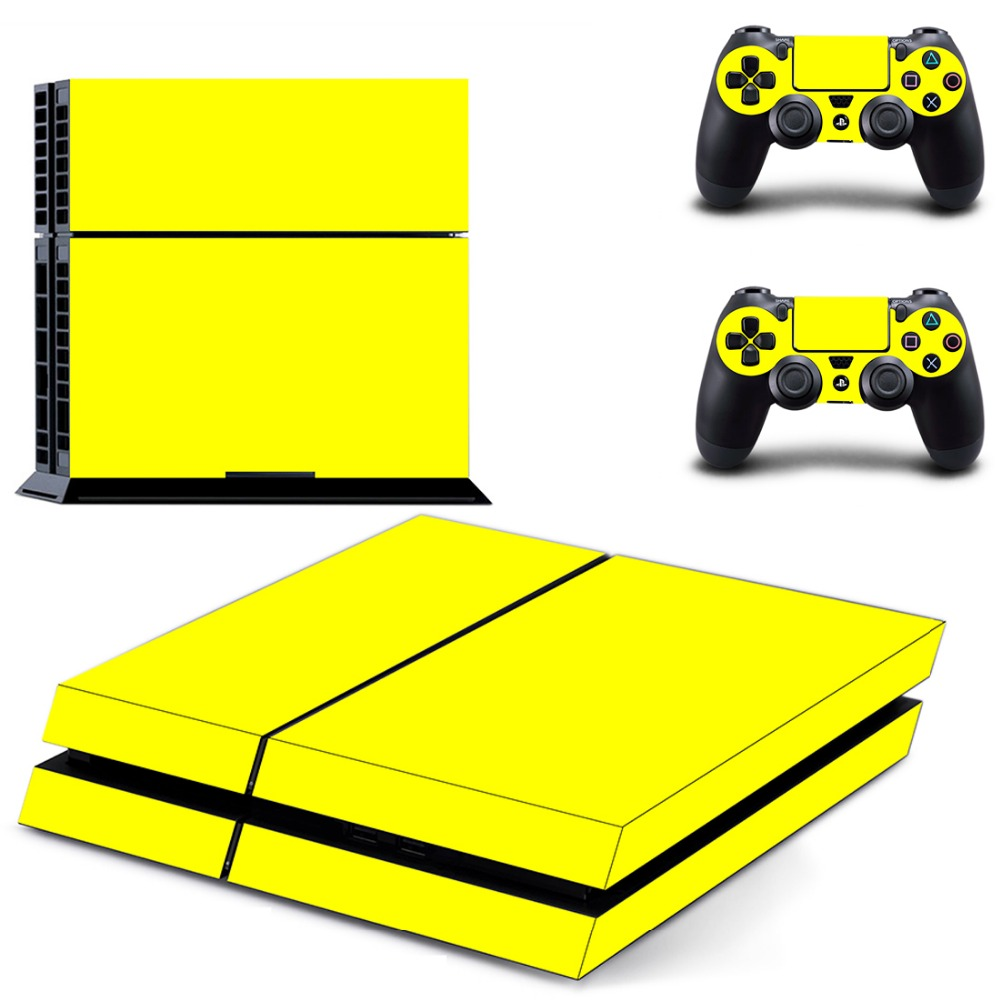 Pure Yellow Decal Skin Cover For Playstaion 4 Console PS4 Skin Stickers+2Pcs Controller Protective Skins