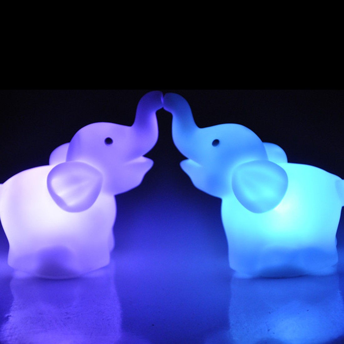 LED Night Light Lamp 7 Color Changing Cute Elephant Shape Wedding Party Decor With Battery