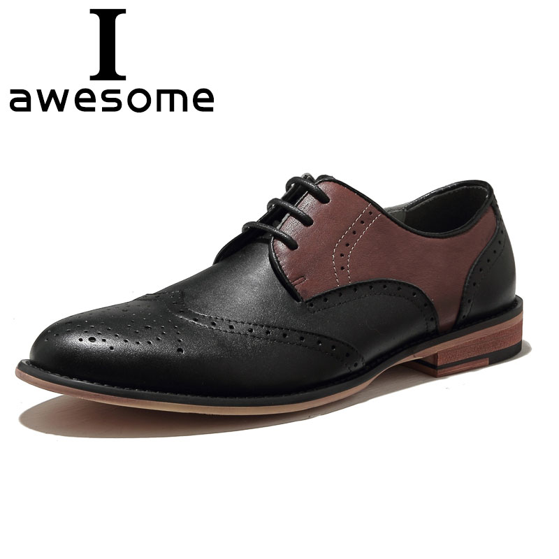 Original Men Brogue Shoes 2018 Wedding Party Mans Genuine Leather Breathable Waterproof Mens Business Dress