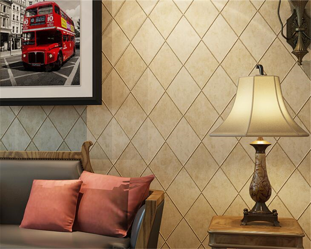 Beibehang Retro 3D Wallpaper Grid Dark Red  Beige Living Room Bedroom Wallpaper TV Bedside Background wallpaper for walls 3 d beibehang golden fountain fair 3d photo wallpaper mural living room bedroom corridor tv background wallpaper for walls 3 d