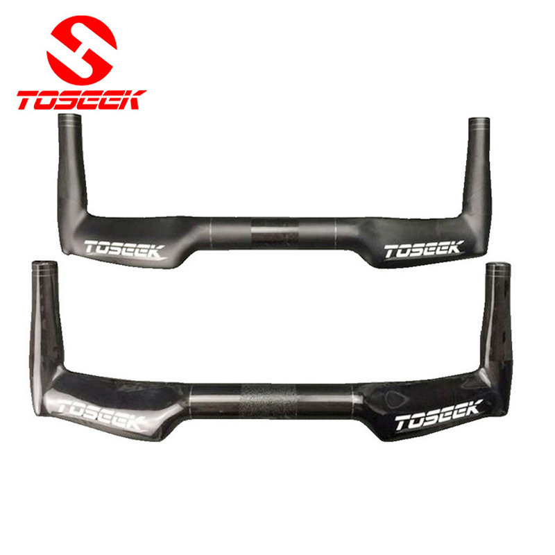 TOSEEK full carbon rest handlebar TT handlebar road bike bicycle 31.8*400/420/440mm matte gloss UD finish black bike parts toseek full carbon fibre bicycle road handlebar integrated bike handlebar stem cycling bent bar ud matte gloss balck logo