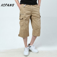 2018 Summer Casual Cargo Shorts Men Cotton Knee Length Military Army Green Shorts For Male Brand