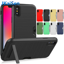 For iPhone 6 6S 7 8 Plus Case Shockproof TPU + PC Brushed Armor With Card Slot Back Cover For Apple iPhone X XR XS MAX все цены