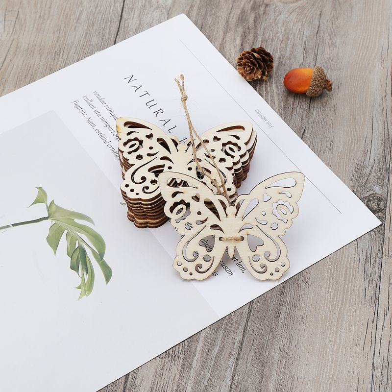 10pcs Laser Cut Wood Butterfly Embellishment Wooden Shape Craft Wedding Decor