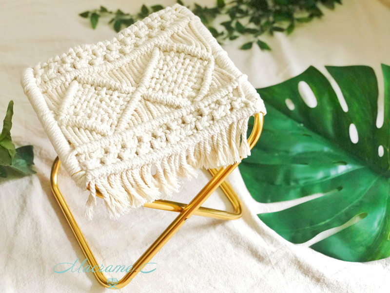 Macrame Cotton rope weaving foldable portable stool chair pillow chair pillow cushion