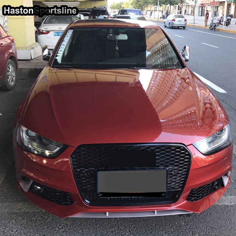 For Audi A4 S4 RS4 Quattro Style Black Front Bumper Grill