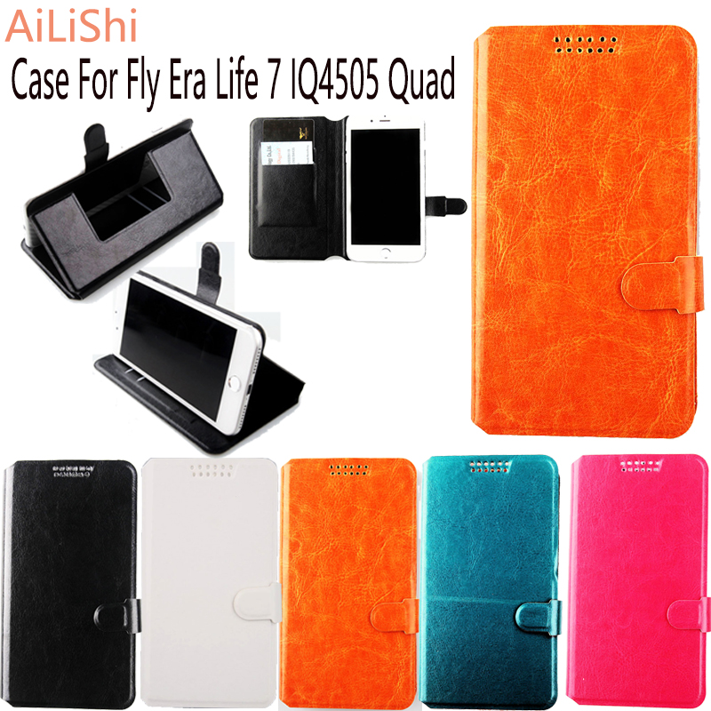 AiLiShi Factory Direct! Case For Fly Era Life 7 IQ4505 Quad Hot Dedicated Leather Case Exclusive 100% Holder Card Slot +Tracking
