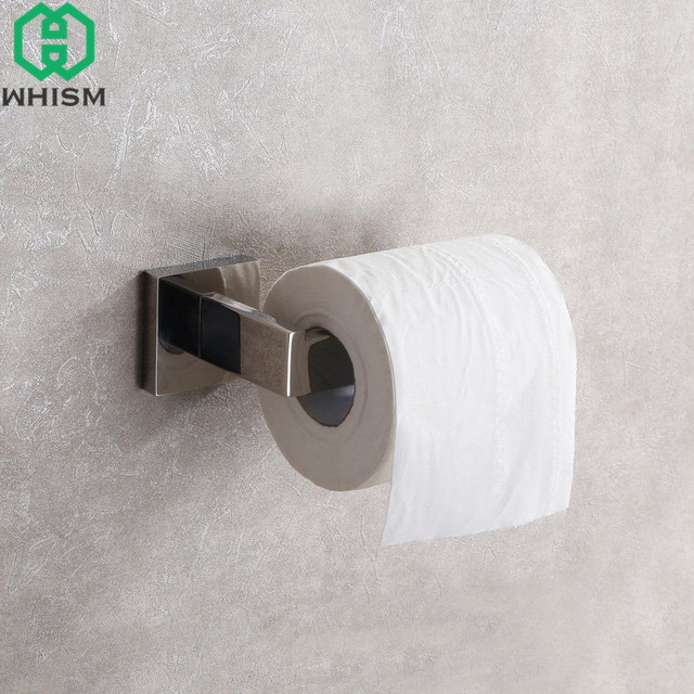 WHISM Stainless Steel Toilet Roll Paper Hangers Wall Mount WC Paper Holder  Barthroom Tissue Holders Home