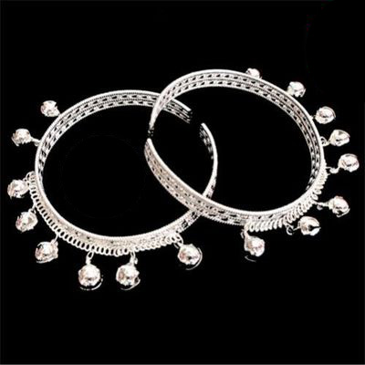 Collection China Tibetan Miao silver Carved Dance bell seedling silver bracelet foot ring stage shipping free