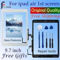 Per Ipad Air 1 Touch Screen A1474 A1475 A147 Sensore Digitizer + Tasto Home + Flex Adesivo + Strumenti di Riparazione pannello di Vetro di montaggio