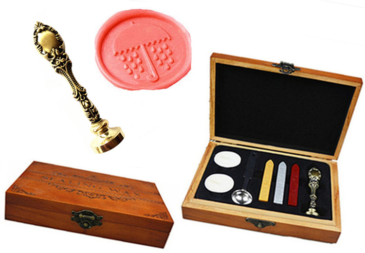 Vintage Umbrella Raindrop Custom Luxury Wax Seal Sealing Stamp Brass Peacock Metal Handle Sticks Melting Spoon Wood Gift Box Set big copper spoon big large size stamp spoon vintage wooden handle brass spoon for sealing wax stamp wax stick spoon