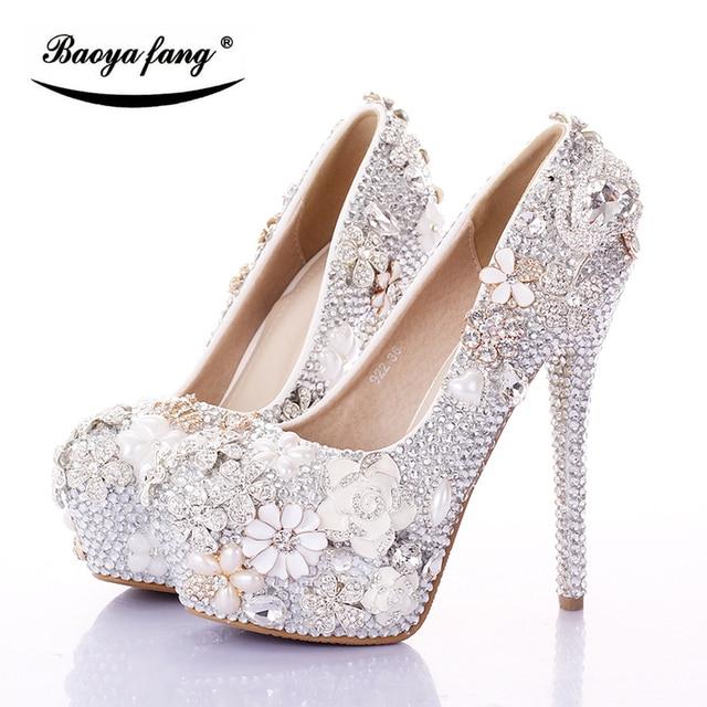 0577beb6c BaoYaFang Prata/Rosa Cisne Das Mulheres sapatos de Casamento Da Noiva 12  cm/14