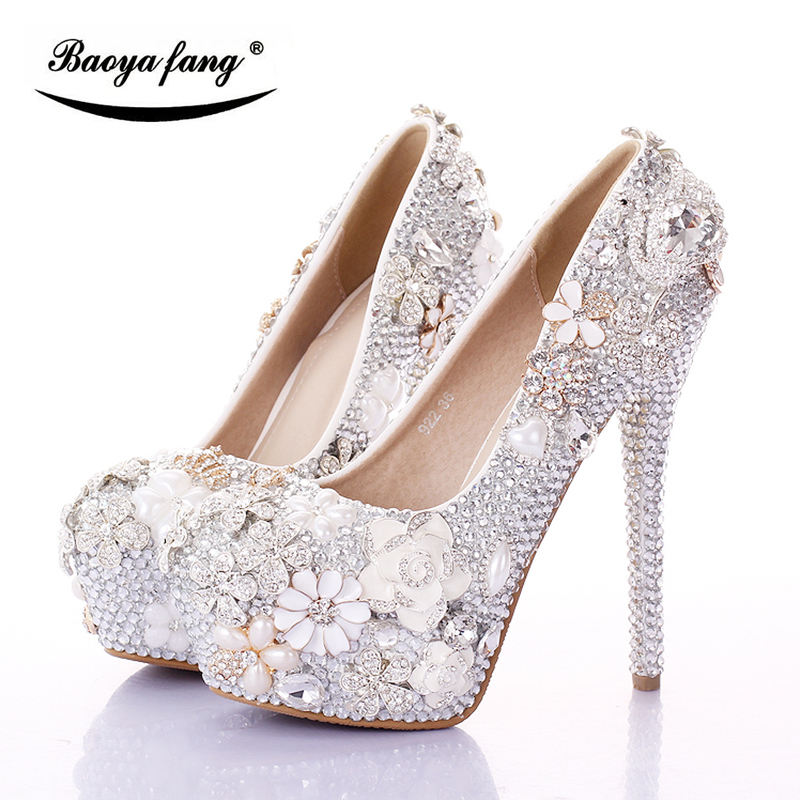 BaoYaFang Silver/Pink Swan Womens Wedding shoes Bride 12cm/14cm High heels platform shoes female shoes woman fashion dress shoe baoyafang red crystal womens wedding shoes with matching bags bride high heels platform shoes and purse sets woman high shoes