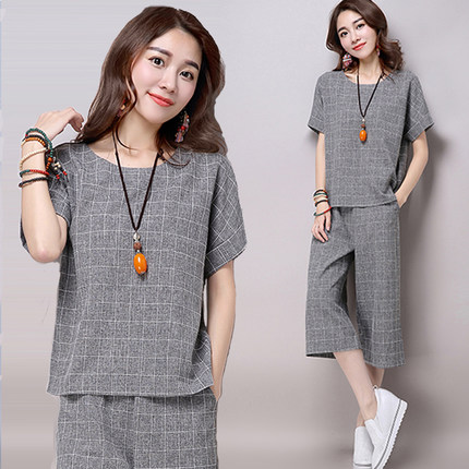 Women outfit 2 piece set crop top and pants suits summer cotton linen plus size co-ord plaid clothing M-3XL 4XL