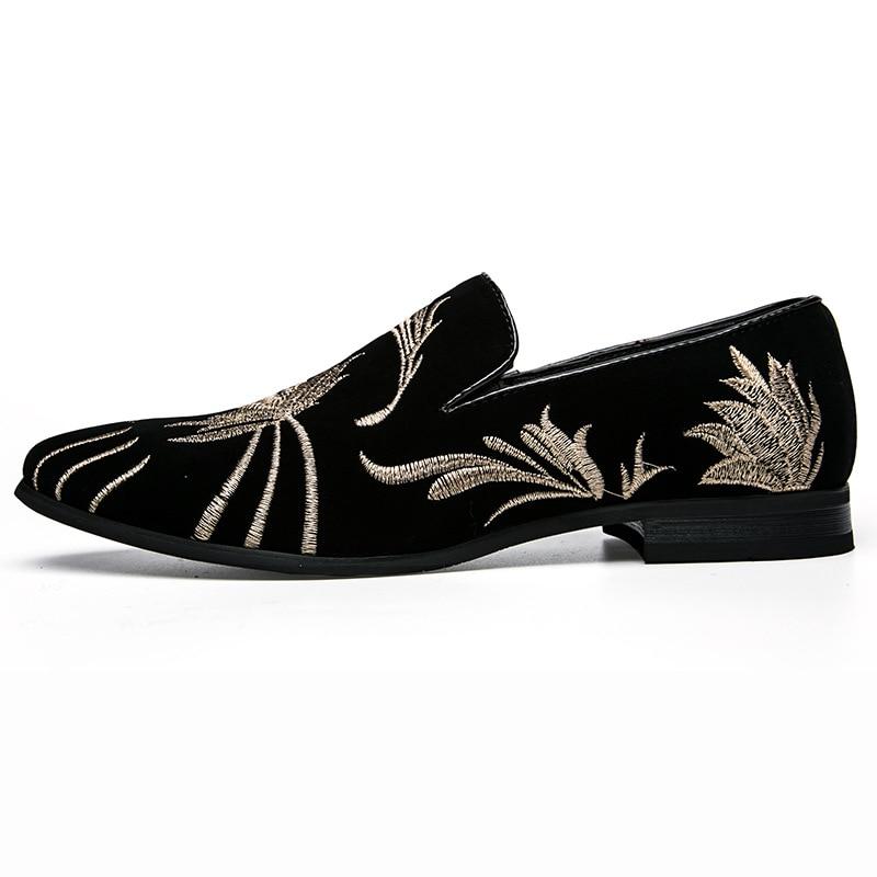 Appartements Chaussures Tendance Cuir Hommes Noir Pointu Broderie Respirant Chine D'affaires Casual Pu Printemps En 2019 De Bout Mocassins PdXxq