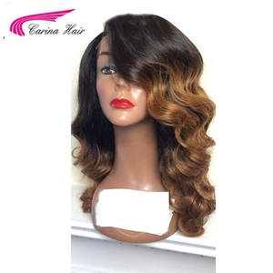 Image 2 - Carina Hair Ombre Color Lace Front Human Hair Wigs with Baby Hair Pre Plucked Hairline Remy Brazilian Hair Loose Wave Wigs