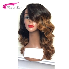 Carina Hair Ombre Color Lace Front Human Hair Wigs with Baby Hair Pre-Plucked Hairline Remy Brazilian Hair
