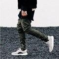 Calças dos homens de Hip Hop Da Moda Justin Bieber Harém tornozelo com Zíperes Kanye West Calças Virilha Gota Temor de Deus Corredores Mens Yeezys