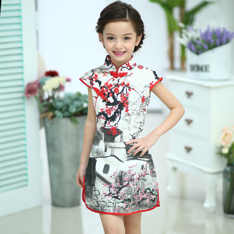 2017 autumn tang suit cheongsam girls dress for years old baby clothes dresses kids classic style princess cotton