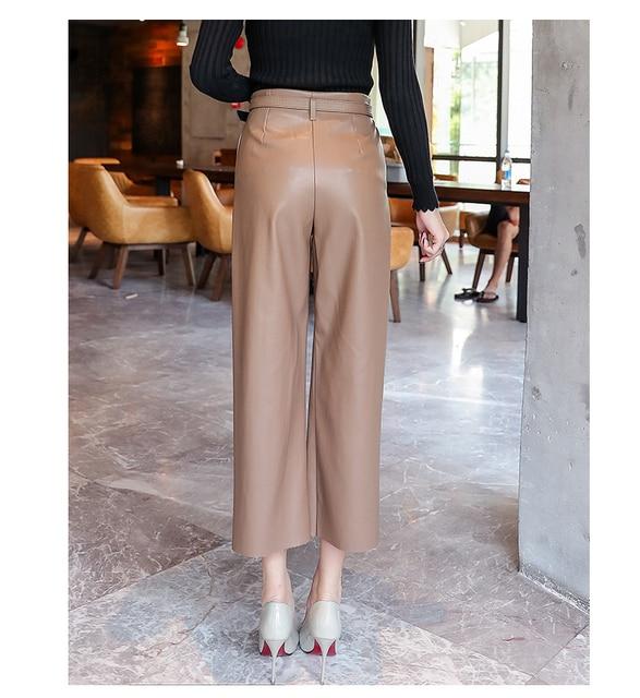 2019 Autumn Brand New Women PU Leather Pants Belted High Waist Faux Leather Ladies Trousers Winter Pants Wide Leg Pants Pantalon 6