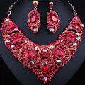 Venta caliente Plateada Oro de Joyería Nupcial conjuntos de Collar y Pendientes de Cristal En Forma de Corazón Clásico
