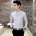2017 мужская полосатой рубашке Мода ленты шить случайный с длинными рукавами рубашки Ребра подол хлопок осень рубашки высокого качества CS311