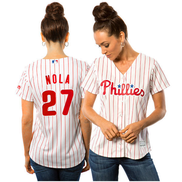 MLB Womens Philadelphia Phillies Aaron Nola White Home Cool Base Player Jersey ...