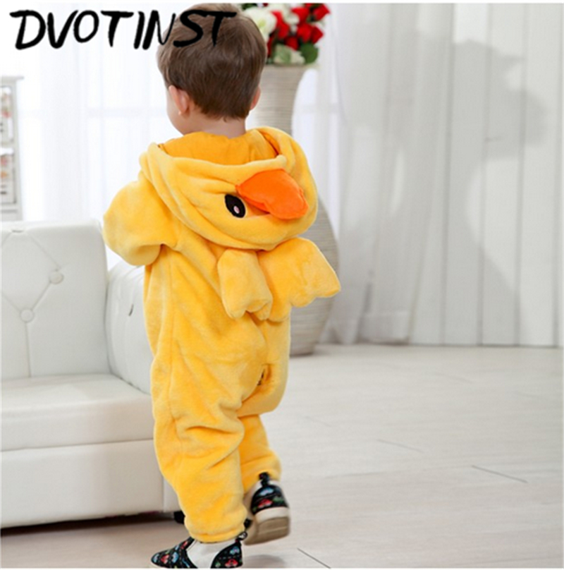 Baby Boys Girls Winter Animals Fannel Duck Rompers Cosplay Halloween Clothes Outfits Infantil Roupa Toddler Jumpsuit Costume 2017 baby boys girls long sleeve winter rompers thicken warm baby winter clothes roupa infantil boys girls outfits cc456 cgr1
