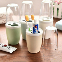 Creative Lovers Mouthwash Plastic Cup Toothbrush Holder Set Travel Outdoor Activities Camping Portable Bathroom Accessories