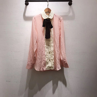Pink 100% Silk Blouses for Women Long Sleeve White Lady Summer Shirts 2019 new Women Blouses