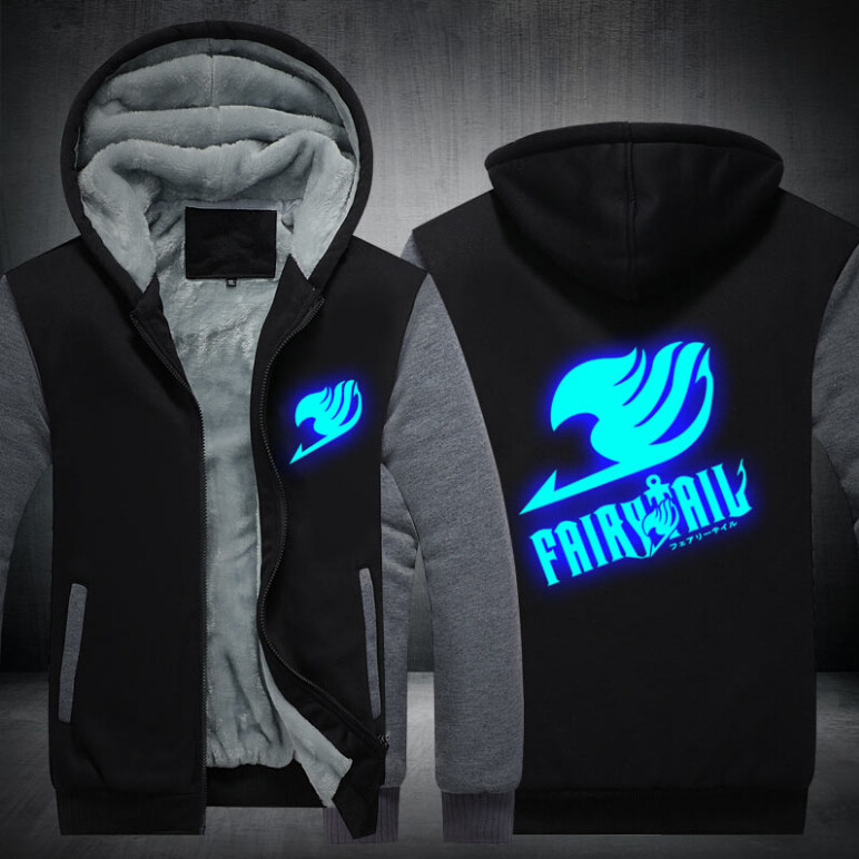 17 USA SIZE Unisex Fairy Tail Hoodies Coat Winter Fleece Thicken Luminous Men Hoodies Sweatshirts Jacket 4
