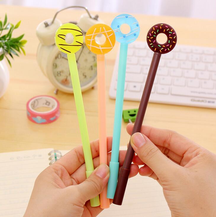 4 pcs/lot Sweet Candy Color Donut Gel Pen Ink Marker Pen School Office Supply Escolar Papelaria