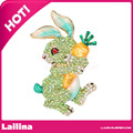 Cute Rabbit Radish Brooch/Pendant With Green Crystal