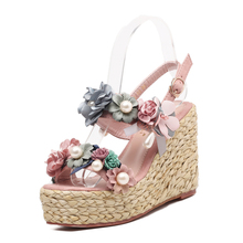 Newest Flowers Wedges Sandals Beaded Platform Open Toe Woman Shoes Ankle Strap Bohemian Summer Beach High Heels