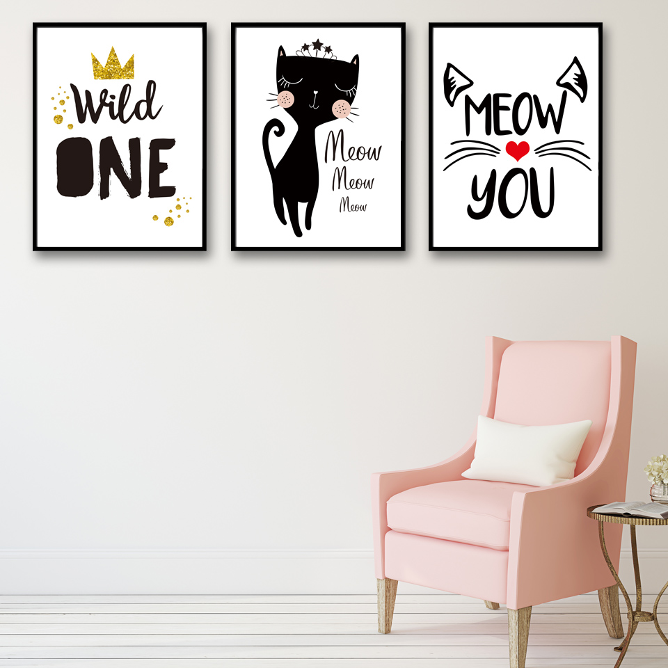 Nordic Meow And Black Cat Poster Print Canvas Painting Wall Art Black And White Style Pictures Girl Room Decor No Framed