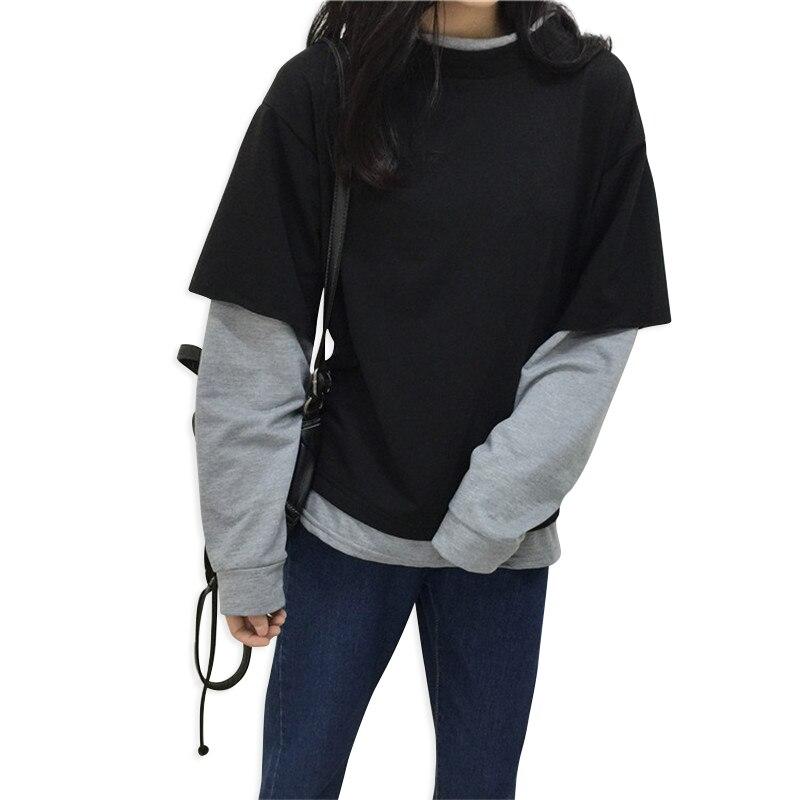 2018 Korean Women Hoodies Pullover Black Gray Color Matching Fake Two Pieces Long-sleeved Loose Sweatshirts Tops Meleton Mujer