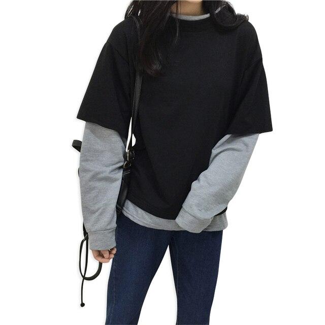 Color Hoodies Pullover Fake Women Gray Korean Black 2018 Matching nw1YqASWS