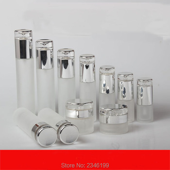 10Pcs/Lot High Grade Arcylic Cosmetic Refillable Containers, DIY Frosted Glass Spray Bottle, Lotion/Emulsion Bottle, Cream Jar