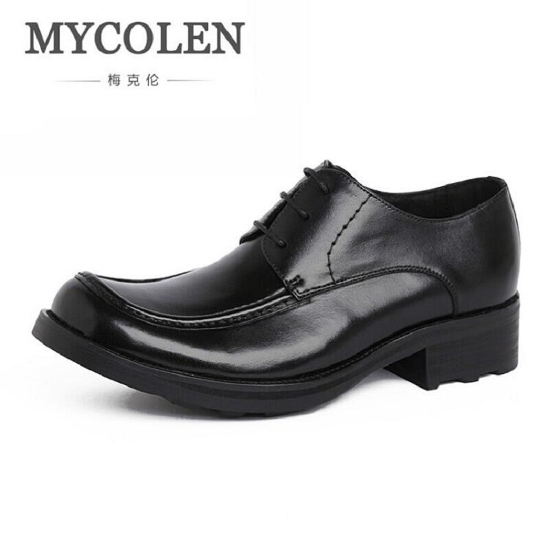 MYCOLEN European Style Mens Dress Shoes Genuine Leather Luxury Brand Wedding Shoes Men Flats Office Male Chaussure Homme 2017 hot sale italian style men s flats shoes luxury brand business dress crocodile embossed genuine leather wedding oxford shoes