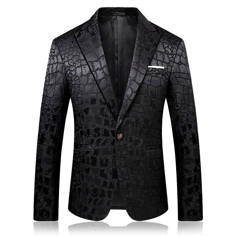 Motif Jacquard léopard Blazer hommes bal de promo Club Slim Fit Blazer Hombre costume veste hommes de haute qualité Vetement Homme 2018 4xl