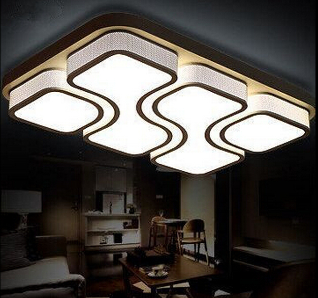 Modern Brief living room led ceiling lamps Rectangle LED Ceiling Lighting black white bedroom lamp