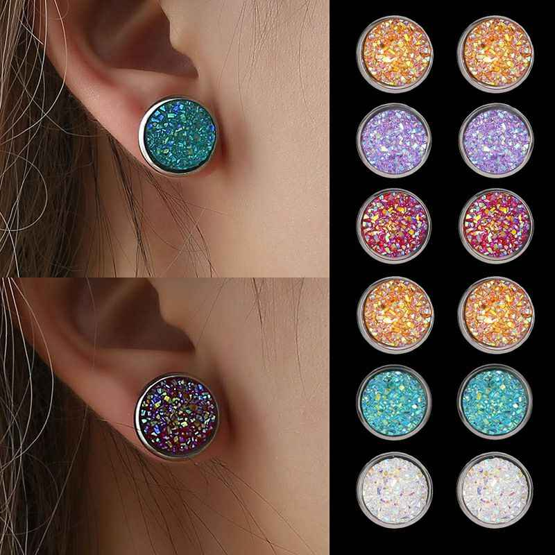 Bling Earring Sets 6 Pairs/Set Mixed Color Cute Round Stud Earrings for Women Fashion Jewelry Birthday Gift Wholesale