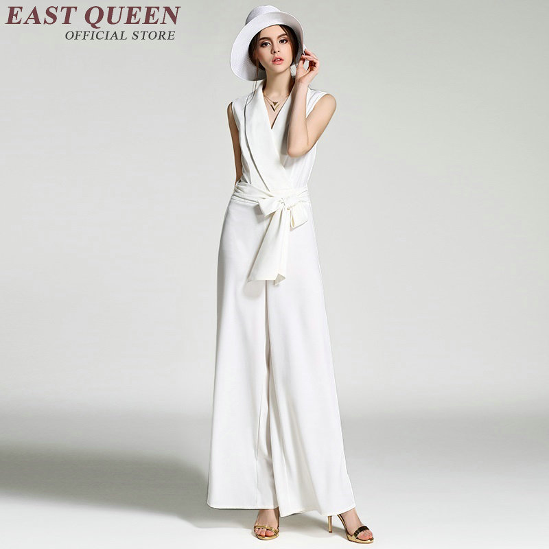 Elegant women jumpsuit Women business casual clothing Black or white color Chiffon business clothing AA2115 X