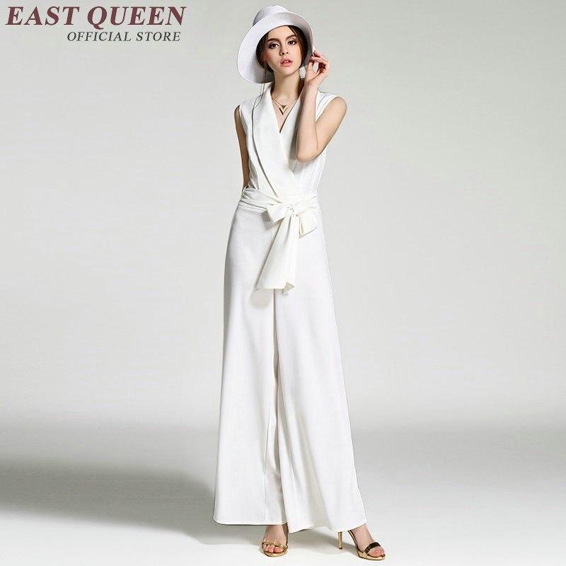 Kadın Giyim'ten Tulumlar'de Zarif kadın tulum Kadın iş rahat giyim Siyah veya beyaz renk Şifon iş giyim AA2115 X'da  Grup 1